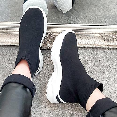 Black Platform Knitted Sock Trainer