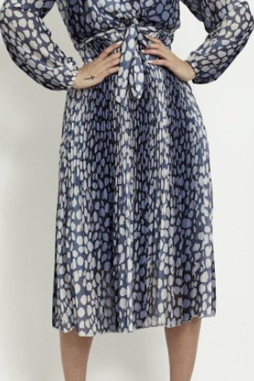 Blue Faux Wrap Animal Print Dress