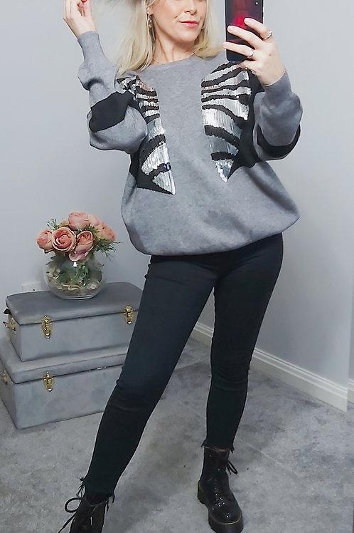 Grey Sequin Zebra Knitted Jumper