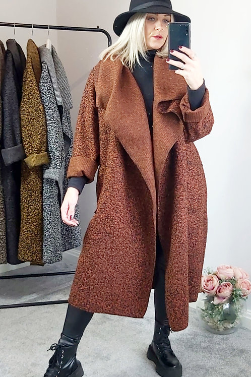Oversized Waterfall Teddy Coat In Rust