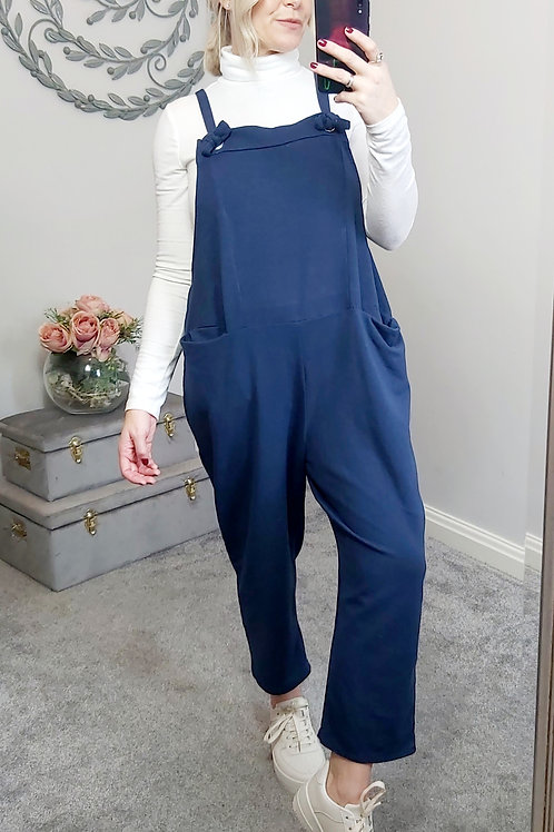 Slouch Oversized Cotton Dungarees In Navy