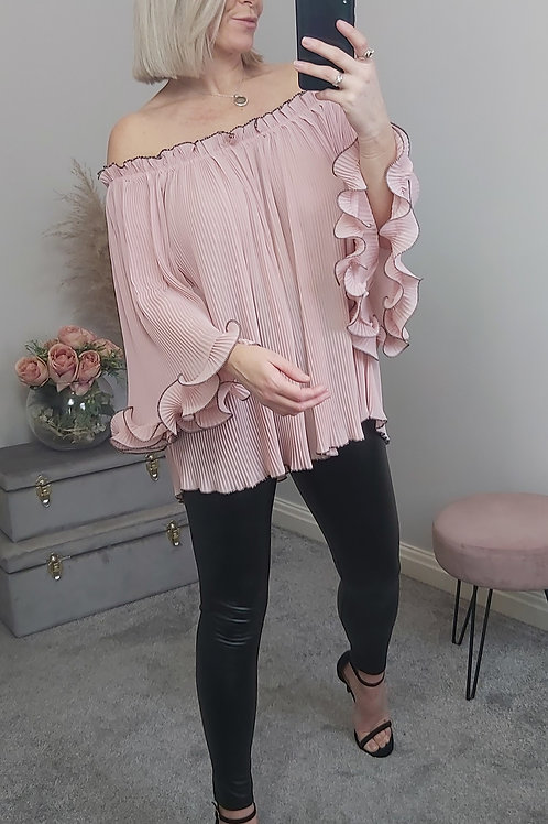 Oversized Pleated Bandeau Top In Pink