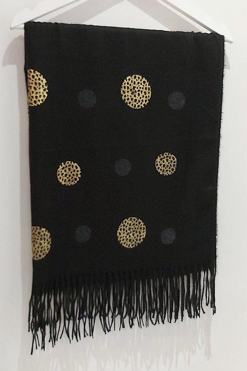 Black Leopard Polka Dot Scarf