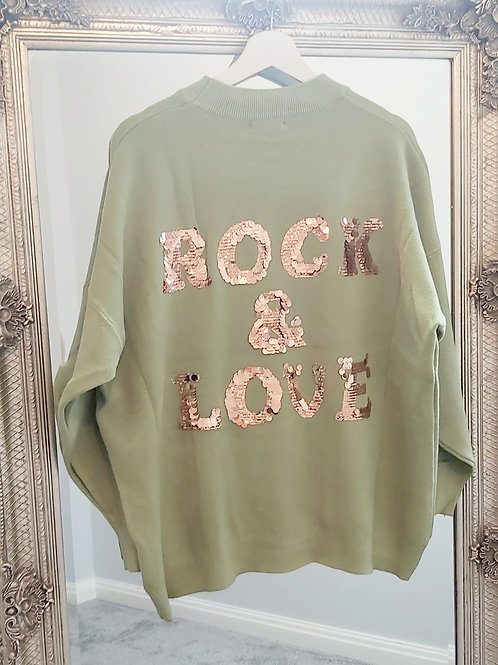 ROCK & LOVE Sequin Jumper In Mint Green