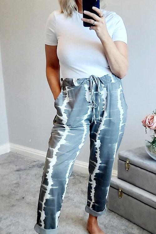Grey Tie Dye Casual Drawstring Jogger Pants