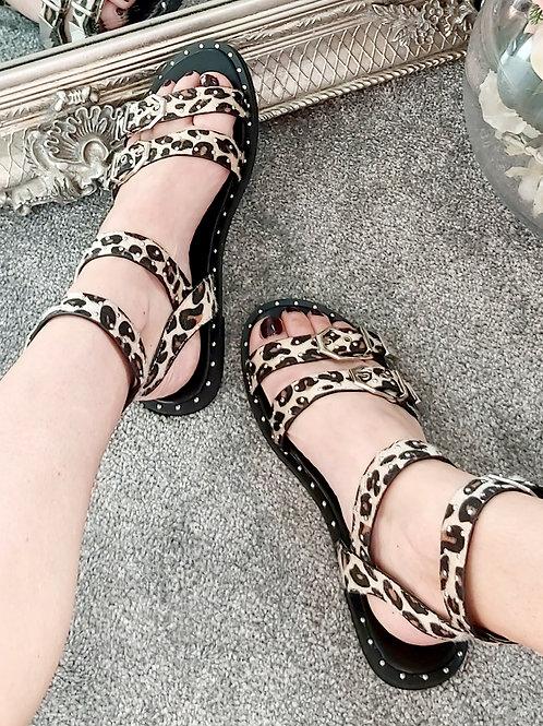 Leopard Stud Buckle Gladiator Sandal