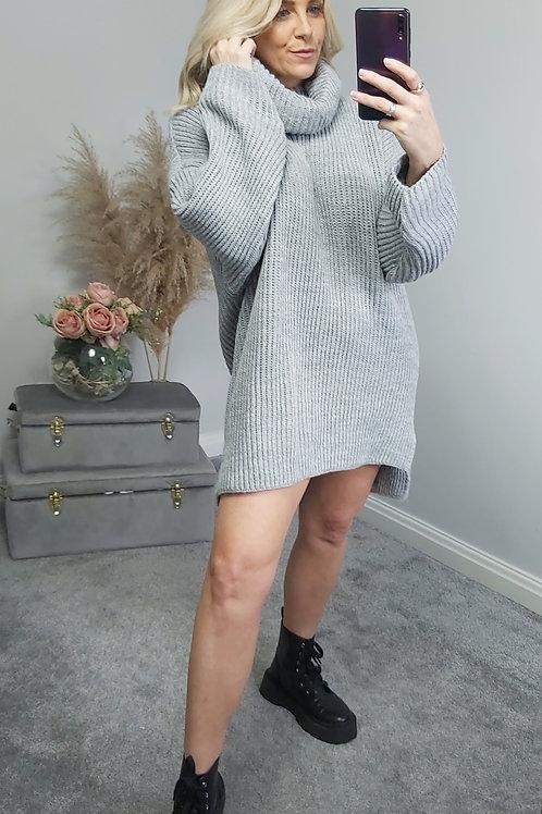 Chucky Roll Neck Jumper/Dress In Grey