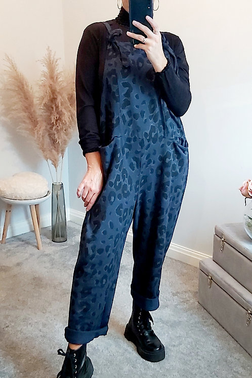 Navy Leopard Slouch Oversized Cotton Dungarees