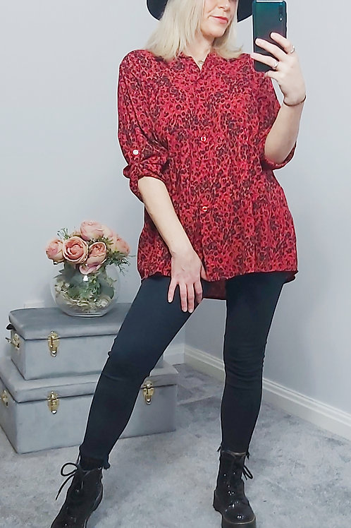 Red Leopard Print Layered Blouse