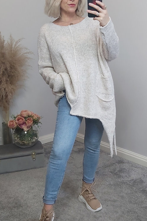 Cream Knitted Asymmetric Jumper