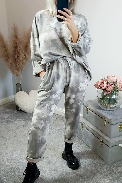Sparkly Marble Joggers In Grey