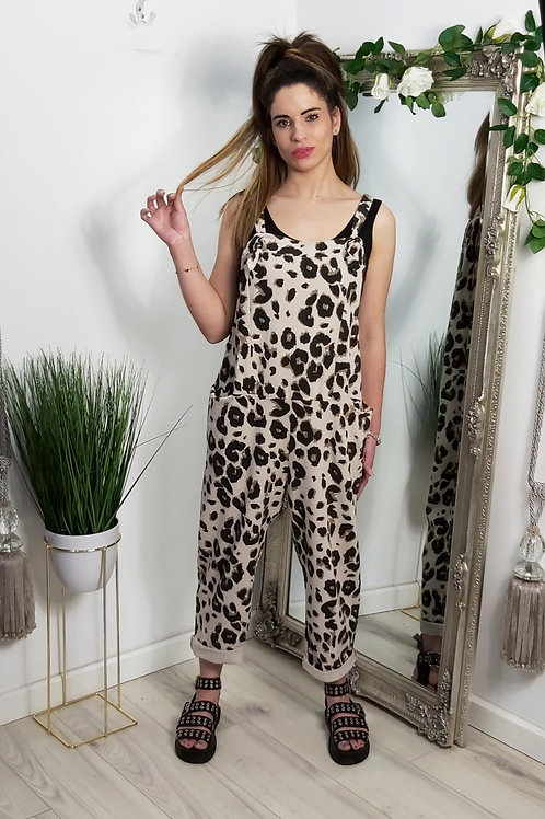 Beige Leopard Slouch Oversized Cotton Dungarees