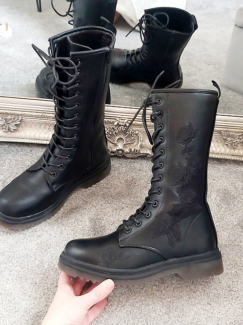 Black Mid Calf Embroidered Lace Up Boot
