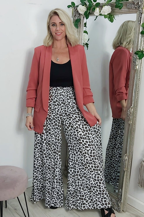 Leopard Wide Leg Palazzo Trousers In White