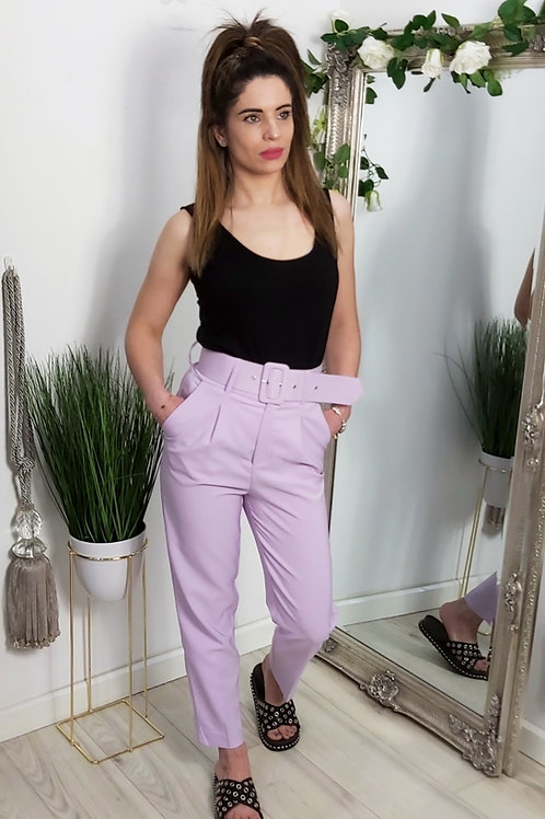 Lilac Tailored Buckle Trousers