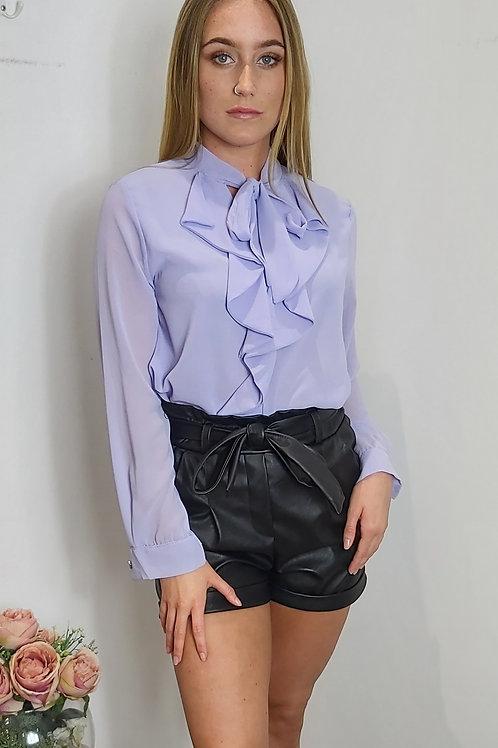 Lilac Long Sleeve Ruffle Shirt