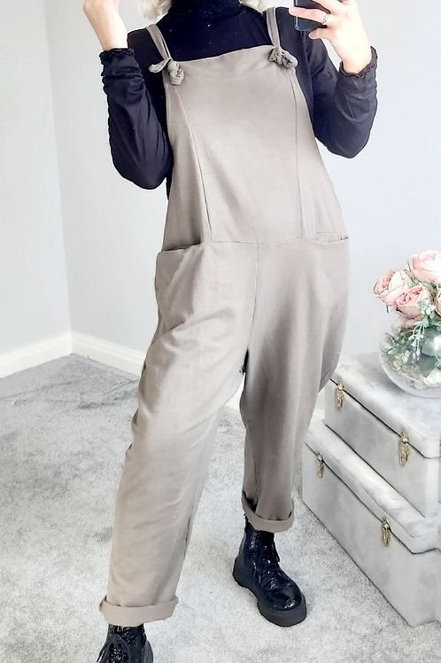 Slouch Oversized Cotton Dungarees In Taupe