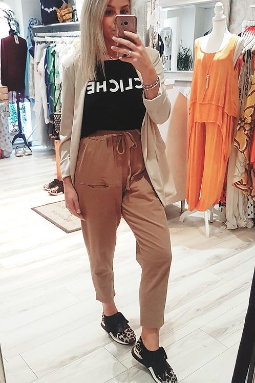 Tan Cotton Drawstring Trousers