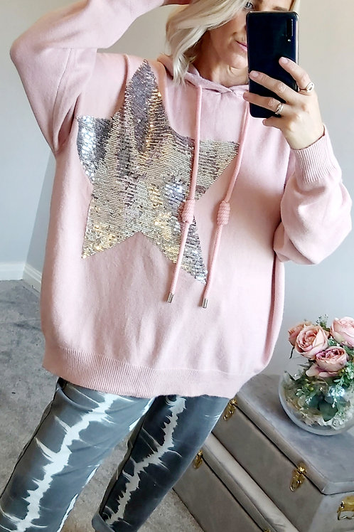 Pink Slouch Sequin Star Motif Hoodie