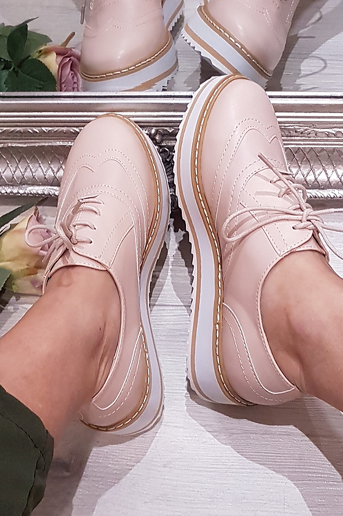 Light Pink Flatform Lace Up Shoe