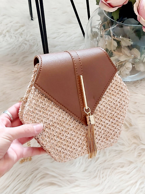 Brown Summer Rattan Crossbody Bag