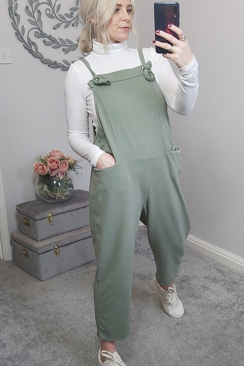 Slouch Oversized Cotton Dungarees In Sage Green