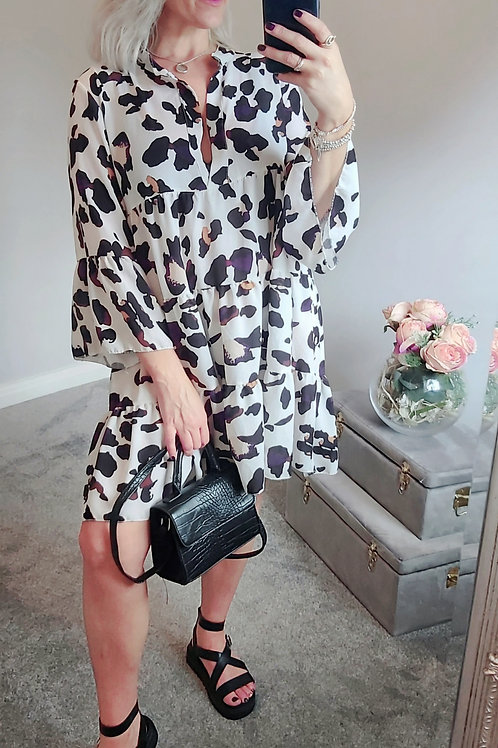 White Leopard Print Smock Dress