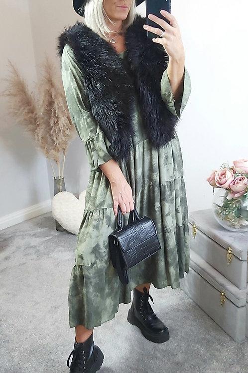 Khaki Oversized Tie Dye Midi Dress