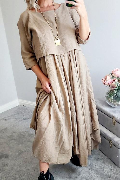 Beige Cotton Oversized 2 Piece Long Italian Dress