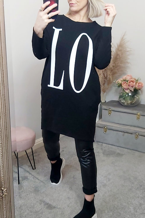 LOVE Slouch Oversized Tunic Top In Black