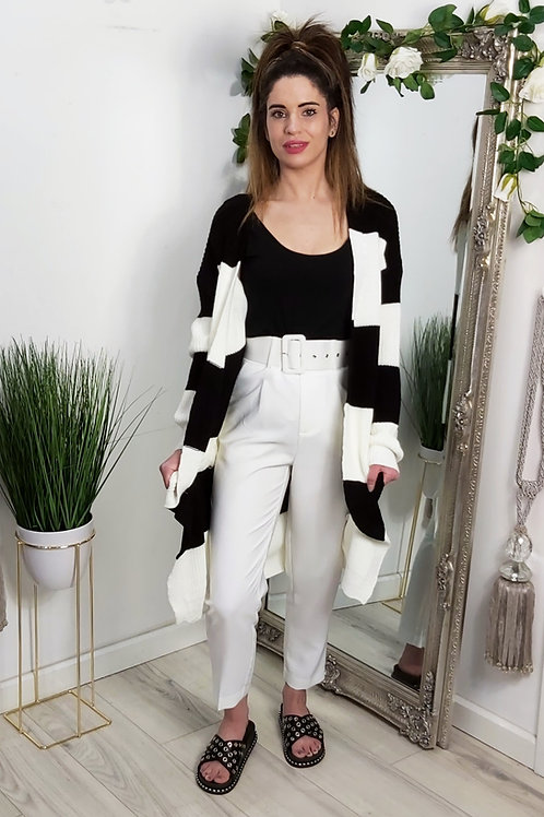 White Tailored Buckle Trousers