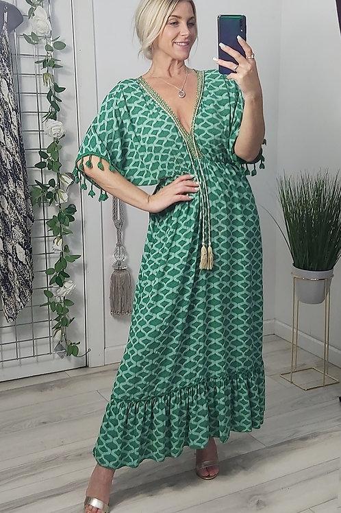 Green Print Grecian Tassel Maxi Dress