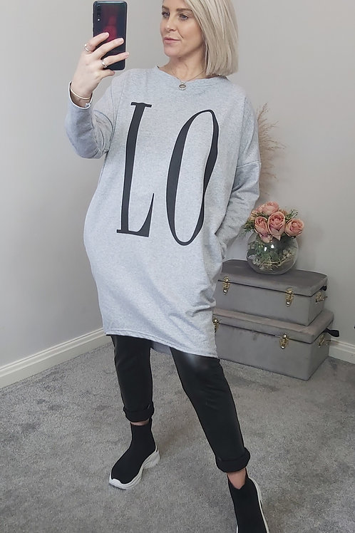 LOVE Slouch Tunic Top In Grey