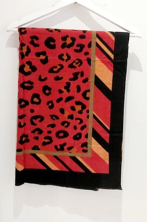 Hot Pink Leopard Block Tassel Scarf