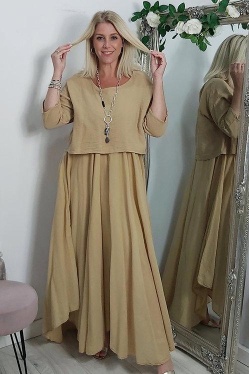Full Skirt Floaty Tee Dress In Yellow