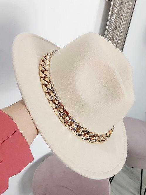 Beige Fedora Chain Hat