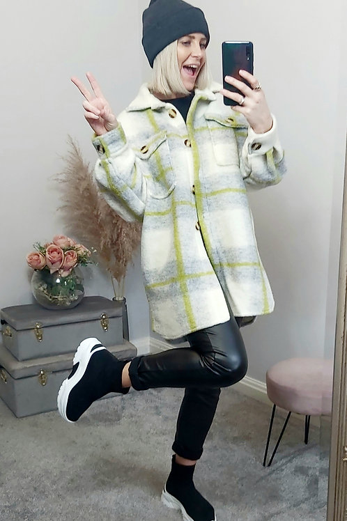 Lime Checked Boxed Fit Shacket