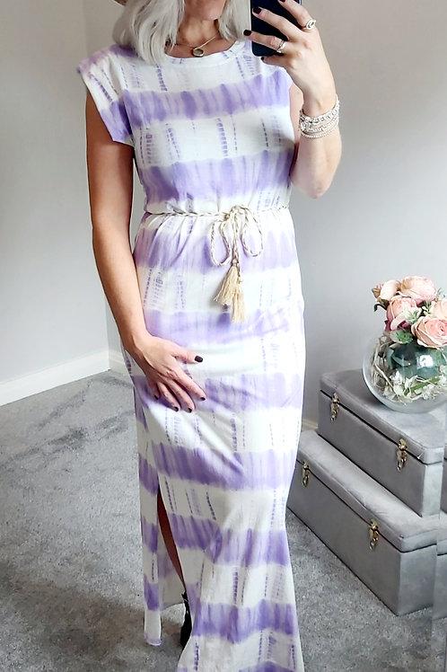 Lilac Tie Dye Sand Shoulder Maxi Dress