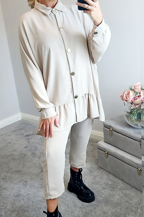 Beige Loose Fitting Cropped Trouser Co 0rd Set
