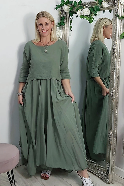 Full Skirt Floaty Tee Dress In Khaki