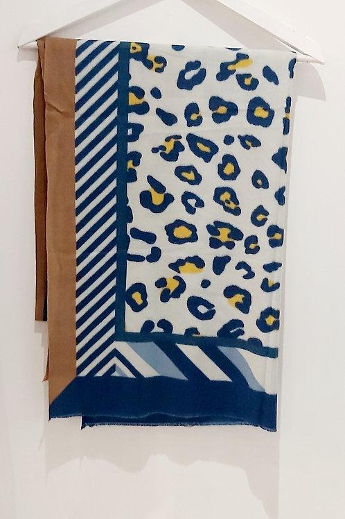Blue Leopard Block Tassel Scarf