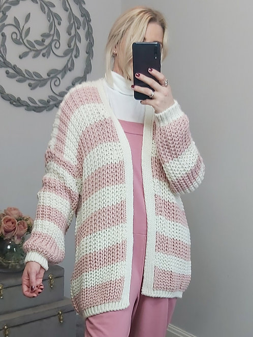 Pink & White Stripped Chunky Knit Cardigan