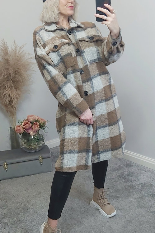 Brown Checked Midi Style Shacket