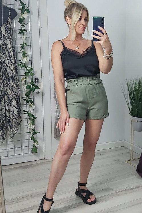 Khaki Stretch Denim Shorts