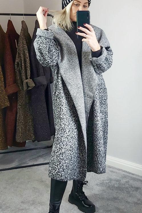 Oversized Waterfall Teddy Coat In Grey