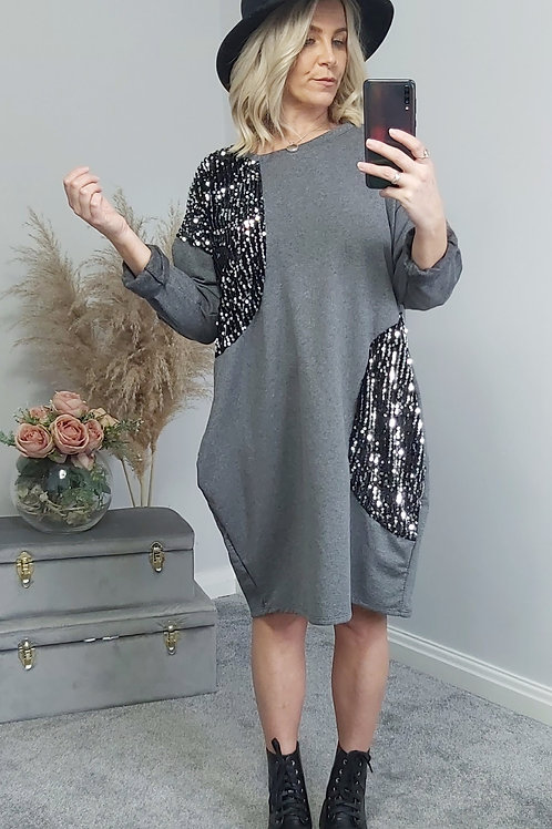 Grey Midi Sequin Jumper Dress