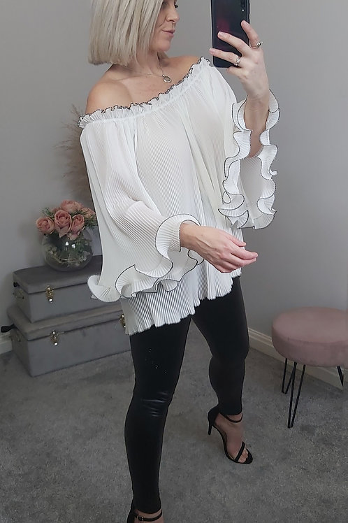 Oversized Pleated Bandeau Top In White