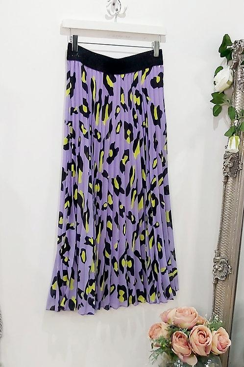 Lilac Leopard Pleated Midi Skirt