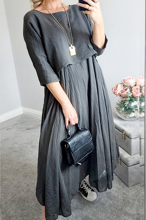 Charcoal Cotton Oversized 2 Piece Long Italian Dress
