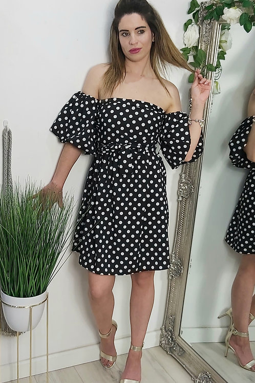 Black Polka Dot Bandeau Dress